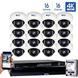 16 Channel 4K NVR 8 Megapixel H.265 4K Security Camera System, 16 Built-in Microphone Audio Recording HD 2160P 4K IP PoE Dome Cameras, QR-Code Connection