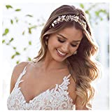 SWEETV Gold Bridal Headband Bohemian Headpiece Crystal Pearl Hair Vine Flower Halo Wedding Hair Accessories