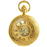 Product review of Ogle Vintage Roman Gold Copper Double Open Cover Chain Fob Self Winding Automatic Mechanical Pocket Watch/Black Dial