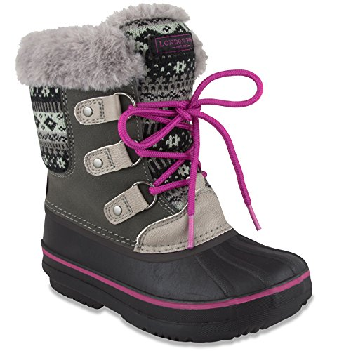 LONDON FOG Girls Tottenham Cold Weather Snow Boot GY/PK Size 4 Grey/Pink