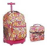 J World Pink Paisley Sunrise Roller Backpack Back Pack and Corey Lunch Bag Bundle Set