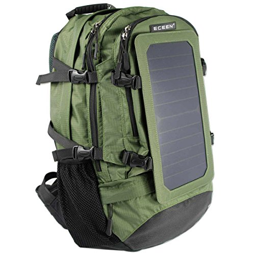 ECEEN 7Watts Solar Backpack Solar Panel Bag Nylon Materials with 5V USB Smart Voltage Controller Charge for Smart Cell Phones, Tablets, GPS, eReaders, Speakers, Gopro Cameras and More