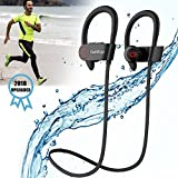 Running Headphones, Best Sports Wireless Bluetooth Earbuds Mic IPX7 Waterproof Sweatproof Workout Noise Cancelling HD Stereo in Ear Gym 8 Hour Battery Headsets Man Women (2018 Upgraded)