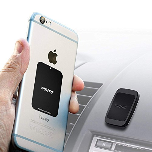 WUTEKU Magnetic Cell Phone Holder Kit for Car | Works on All Vehicles, Phones & Tablets | Best Flat Dashboard Mount | iPhone X, 8, 7 & Galaxy S9, S8 by Uber Driver