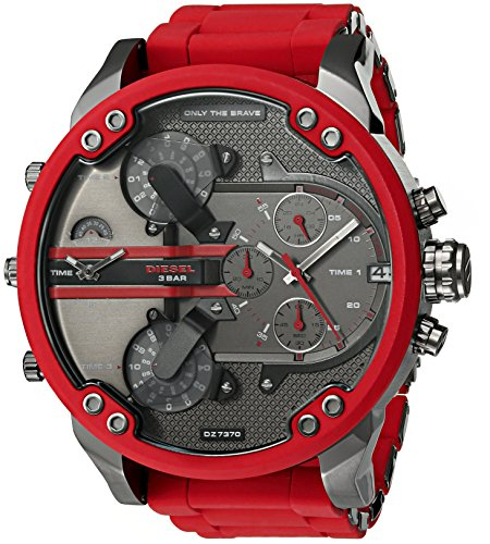 510Yb4znX L Bright red watch with textured tech-savvy dial in charcoal tone featuring seven multifunction subdials 57 mm stainless steel case with mineral dial window Quartz movement with analog display
