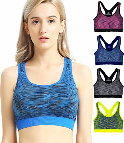 8f1cc2442a689 Capricia O dare Multi Pack Women s Running Seamless Sports Bras Racerback  Wireless Padded ...