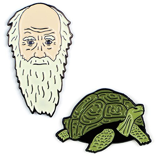 The Unemployed Philosophers Guild Darwin and Tortoise Enamel Pin Set - 2 Unique Colored Metal Lapel Pins