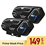 BIBENE Motorcycle Bluetooth 4.1 Intercom BlueRider M1-S Helmet Communication System, Wireless Universal Helmet Clamp Kit with Mesh Intercom Headset, Up to 4 Riders 2000m for Group Motorbike(2 Pack)