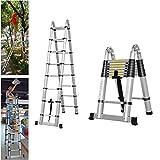 Autobaba 5M A-Frame Aluminum Folding Foldable Telescoping Loft Telescopic Ladders Multi Purpose, EN131