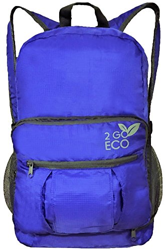 2GOECO Lightweight Backpack for Travel Hiking Convertible Foldable Packable Daypack Bag 20L Blue