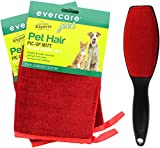 Evercare Pet Hair Remover Glove Pic-Up Mitt (2) and Magic Lint Brush (1) for Pets Clothes Furniture and Travel