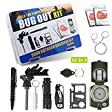 Exqline Survival Kit, Portable Emergency Survival Gear 12 in 1, Professional Survival Tactical Tools with Knife Compass Fire Starter for Cars Trip Hiking Camping Fishing Wilderness