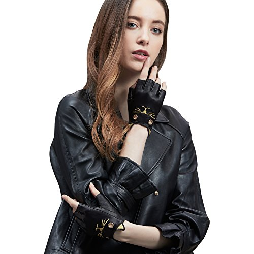 GSG Half Finger Cute Leather Gloves Kitty Female Fingerless Driving Gloves Costume Ladies Black Nappa Leather Gloves Women Cosplay Novelty Dance Gloves Nice Gifts Black 8