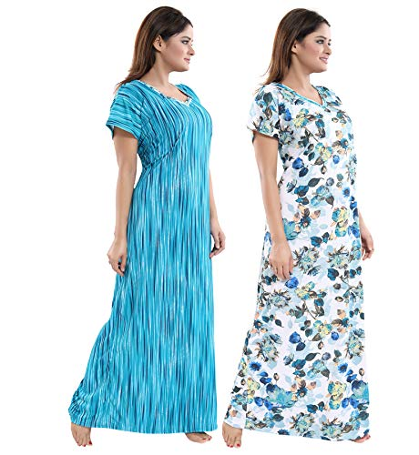TUCUTE Women Beautiful Print with Invisible Zip + Floral Print Feeding/Maternity/Nursing Nighty/Night Gown/Night Dress/Nightwear (Free Size) (Pack of 2 Pcs) 3