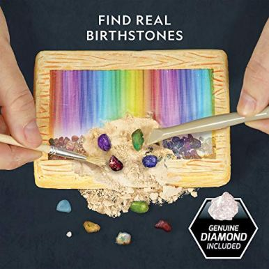 NATIONAL-GEOGRAPHIC-Birthstone-Dig-Kit-STEM-Science-Kit-with-12-Genuine-Birthstones-Includes-a-Real-Diamond-Ruby-Sapphire-Pearl-More-Dig-Up-Stunning-Gemstones-Toys-for-Girls-Toys-for-Boys