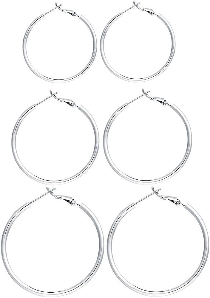 3 Pairs Sterling Silver Hoop Earrings - 14k White Gold Plated Hoop Earrings Big Hoop Earrings Set Silver Hoop Earrings for Women Girls Valentine's Day Gift (40MM 50MM 60MM) …