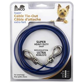 Zinco-Strong-Tie-Out-Cable-360-Degree-Rotating-Double-Swivel-Connector-for-Dogs-20-Blue