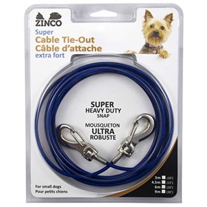 Ben-Mor-Zinco-Strong-Tie-Out-Cable-360-Degree-Rotating-Double-Swivel-Connector-for-Dogs