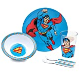 Bumkins DC Comics Superman Kids Dish Set, Plate, Bowl, Cup, Fork and Spoon, Melamine Toddler Dishes, BPA Free, Stackable, Dishwasher Safe - 5-Piece Set