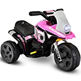 Costzon Kids Ride On Motorcycle, 6V Battery Powered 3 Wheel Bicycle, Electric Toy for Little Child (Red) (Pink)