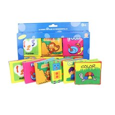 Baby's First Non-Toxic Fabric Book Soft Cloth Book Set- Squeak, Rattle, Crinkle,Colorful- Pack of 6