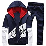 Wenliu Men's Hoodies Acitve Sweater Tracksuits Hooded Jogging Suits 2 Pieces Printing Sweatshirt