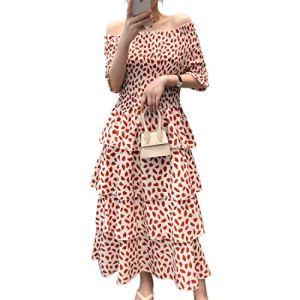 One-Word Collar Long Dress Women's Summer Elastic Short-Sleeved Holiday Temperament Sweet Cake Skirt,Red-S 510o4AyQsKL