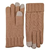 ELMA Women's Wool Knitted Winter Gloves Mittens Super Warm Lined Texting Touchscreen (One size, Apricot)