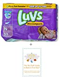 Luvs Newborn Diapers (Size N - Less Than 10 lbs) (31 Count) Bundle w/ 'No Fluff' Baby's First Year Informational Guide©