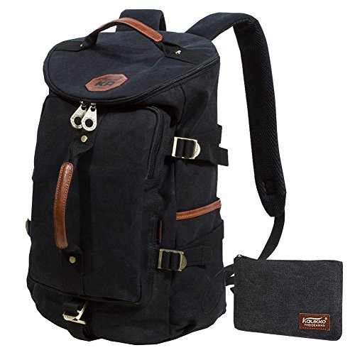KAUKKO Canvas Backpack Laptop Daypack Hiking Travel Shoulder Bag Duffel Bags 92f4ca33614