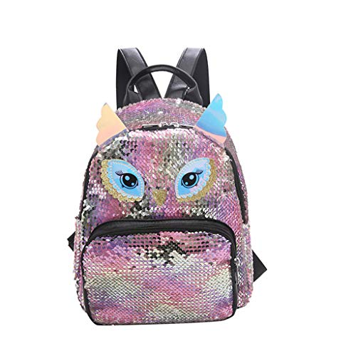 Beauty&YOP School Backpack for Girls,Water Resistant Durable Casual Schoolbag Bookbag for Middle School Students Geometric Backpack Backpacks Holographic Reflective Bag owl Bags Rucksack