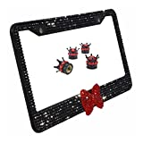 Carfond License Plate Frame, Handcrafted 1000+pcs 8 Facets Waterproof Bling Rhinestones, Bonus Bling Crown Valve Stem Caps (black-red bowtie set)