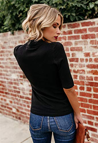 LIYOHON-Womens-Summer-Plain-T-Shirt-MockTurtle-Neck-Half-Sleeve-Blouses-Slim-Fitted-Casual-Cute-Tee-Tops