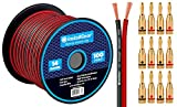 InstallGear 14 Gauge AWG 100ft Speaker Wire Cable - Red/Black with 12 Banana Plugs