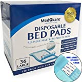 Medokare Disposable Incontinence Bed Pads - Hospital Grade 1500ml Super Absorbent Disposable Bed Mats for Bedwetting, UnderPad for Kids, Waterproof Mattress Pads Protector with Adhesive -36Pads w/Tags