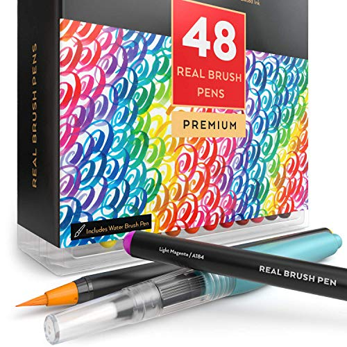 Arteza Real Brush Pens, 48 Colors for Watercolor Painting with Flexible Nylon Brush Tips, Paint Markers for Coloring, Calligraphy and Drawing with Water Brush for Artists and Beginner Painters