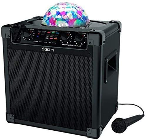 ION Audio Party Rocker Plus | Bluetooth Speaker with Rechargeable Battery, Spinning Party Lights & Karaoke Effects (50W)