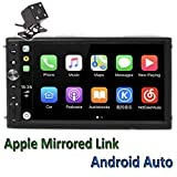 Polarlander 2Din 7' Universal Car Radio Mirror Link for All Smartphone Multimedia Player Universal Car Stereo with Radio,GPS, Bluetooth,Intelligent Voice Control,Rear View Camera