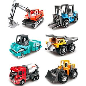 Dreamon Colourful Construction Trucks Toy, Engineering Diggers and Dumpers Toys Cars Play Set Educational Gift for 3 Years Old Kids, 6PCS 510xBZ1 dlL