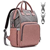 Diaper Bag Backpack Nappy Bag Upsimples Baby Bags for Mom Maternity Diaper Bag with USB Charging Port Stroller Straps Thermal Pockets|Wide Shoulder Straps|Water Resistant |Pink