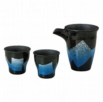 Jpanese traditional ceramic Kutani ware. Sake Tokkuri bottle and sake cups. Sake set. Silver leaf blue. With paper box. ktn-K5-1187