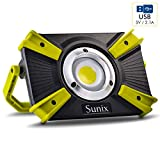 30W 1600lm LED Work Light, Sunix Spotlights Work Lights, Cob LED Flood Light, IP64 Waterproof, Built-in Rechargeable Security Light with 5V 2.1A USB Port and SOS Mode