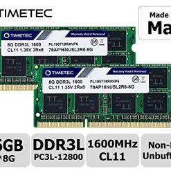 Timetec Hynix IC compatible with Apple 16GB Kit (2x8GB) DDR3L 1600MHz PC3-12800 SODIMM Memory Upgrade For MacBook Pro, iMac, Mac mini/Server