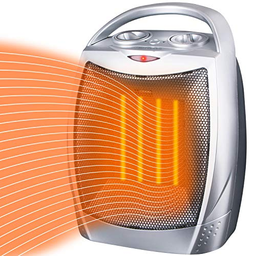 Brightown Space Heater Electric Heater Portable Ceramic Heater with Adjustable Thermostat and Overheat Protection ETL Listed for Home Office Kitchen Bedroom and Dorm, 750/1500 Watt