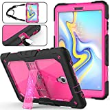 SEYMAC Stock Galaxy Tab A 10.5 T590/T595 Case, Full-Body [Heavy Duty] & [Shock Proof] Hybrid Armor Protective Case with Stand & Shoulder Strap for Samsung 10.5 Inch Tablet SM-T590/T595 (Rose+Black)