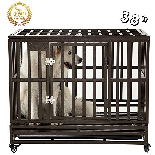 SMONTER 48' Heavy Duty Strong Metal Dog Cage Pet Kennel Crate Playpen with Wheels, Y Shape, Yellow