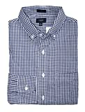 J Crew Factory - Men's Slim Fit - Gingham Washed Cotton Shirt (Navy Micro-Gingham, Large)