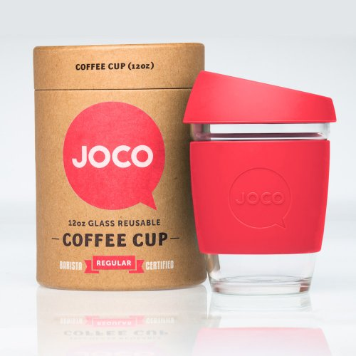 JOCO Glass Reusable 12oz Coffee Cup (Red)