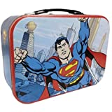 WL SS-WL-25554, 10 Inch Superman Flying in Metropolis City Collectible Tin Tote 10""
