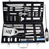 ROMANTICIST 27pc BBQ Grill Accessories Set with Thermometer for Men Women on Birthday Wedding - Heavy Duty Stainless Steel Grill Utensils with Aluminium Case for Outdoor Camping Backyard Barbecue
